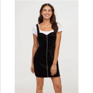 NWT H&M Black Suede zipper dress